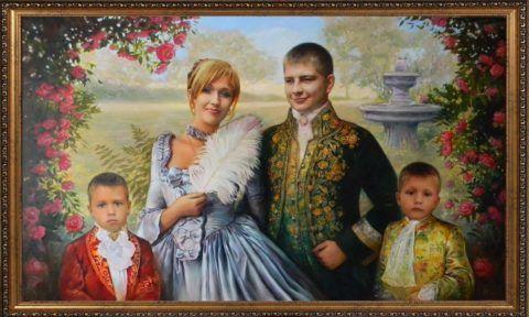 Можно заказать портрет всей семьи в определенном стиле.