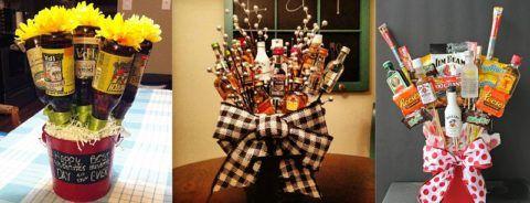 Несколько интересных вариантов того, как можно подарить папе букет из алкоголя.