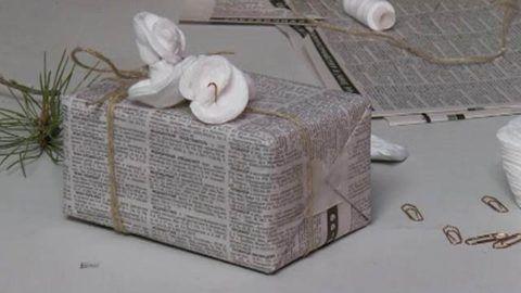 Ненужные газеты в расход для праздничной упаковки