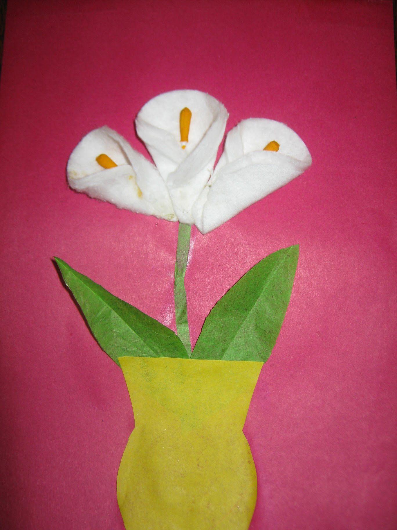 Цветы для открытки из ватных дисков, анимация