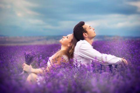 Красивая пара в поле
