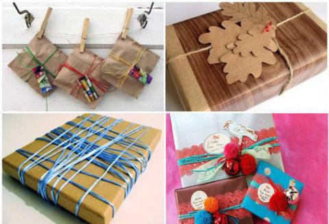 Еще несколько вариантов того, как можно украсить крафтовую и обычную бумагу пряжей.
